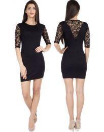Елегантна рокля с дантела в черно - код 789