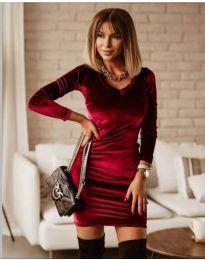 Изчистена рокля в бордо - код 4161
