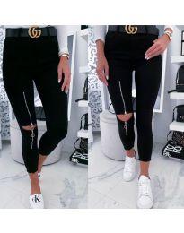 Дамски дънки с цип на крачола в черно - код 3476