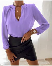Дамска риза с V-образно деколте в лилаво - код 405