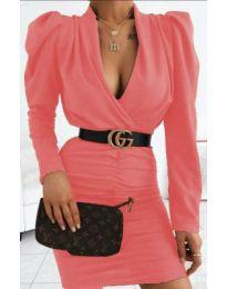 Стилна рокля в цвят корал - код 953