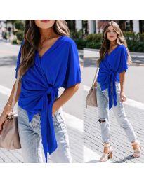 Изчистена дамска блуза в цвят синьо - код 0009
