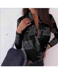 Риза-боди в черно с ефектен принт - код 678