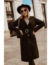 Дълго дамско палто в черно  - код 5657