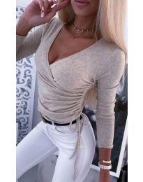 Бежова дамска блуза по тялото с голямо деколте - код 275