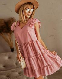 Дамска рокля в цвят пудра - код 6224