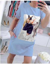 Свободна рокля с атрактивен принт в светло синьо - код 619