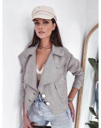 Дамско късо яке в сиво - код 4748