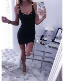 Черна рокля по тялото с презрамки - 139