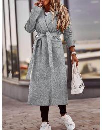 Дамско палто с колан в сиво  - код 7989