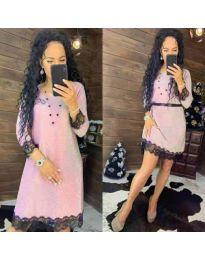 Елегантна рокля в розово - код 1426