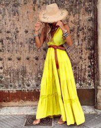 Атрактивна дълга рокля в жълто - код 0817
