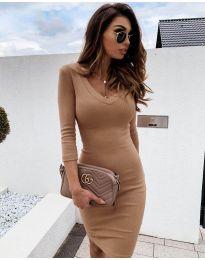Изчистена рокля в цвят капучино - код 4040