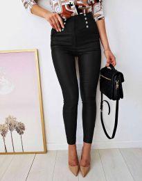 Втален дамски кожен панталон в черно - код 9823