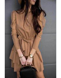 Елегантна рокля в цвят капучино - код 8384