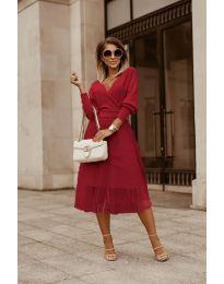 Дамска рокля в бордо - код 9994