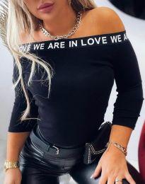 Дамска блуза в черно с принт - код 4329