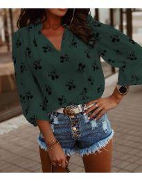 Дамска блуза в маслено зелено - код 1619