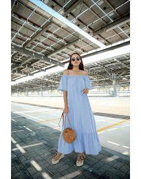 Дълга рокля в светло син цвят - код 3636