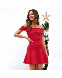 Разкроена рокля в  червено - код 611