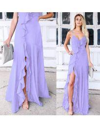 Дълга рокля с цепка в лилаво - код 4488
