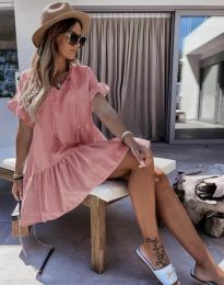Изчистена дамска рокля в цвят пудра - код 6144