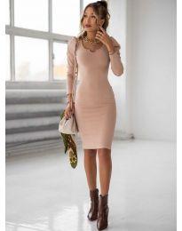 Дълга рокля по тялото в цвят пудра - код 11548