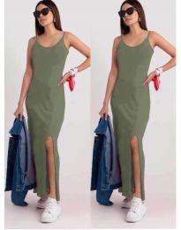 Дълга рокля с цепка в светло зелено - код 3000