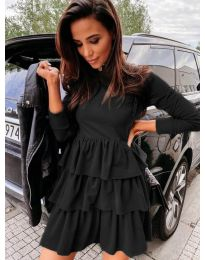 Свободна дамска рокля в черно - код 3109