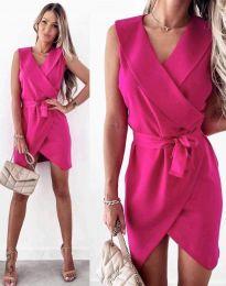 Атрактивна дамска рокля в цвят циклама - код 7793