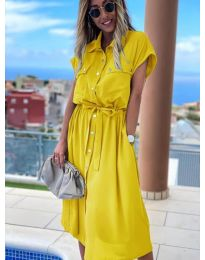 Дълга рокля с копчета в жълто - код 0014