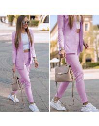Спортно-елегантен дамски комплект в лилаво - код 215