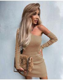 Елегантна рокля в цвят капучино - код 4933