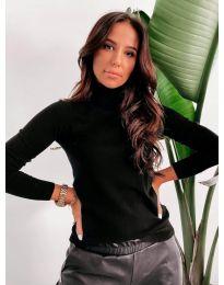 Дамска блуза с поло яка в черно - код 8861