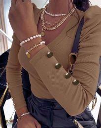 Дамска блуза в цвят капучино - код 2065