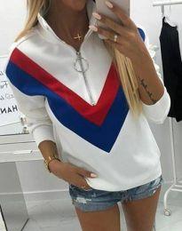 Ефектна дамска блуза в бяло - код 7890