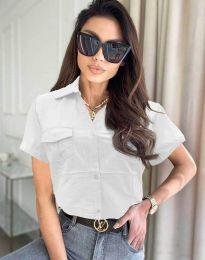 Дамска риза с къс ръкав в бяло - код 0627
