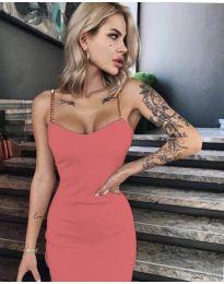 Елегантна рокля в корал - код 4749