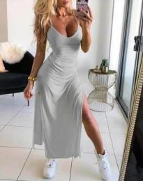 Дълга лятна рокля в светлосиво - код 4754