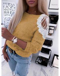 Дамска пуловер  в цвят капучино - код 7373