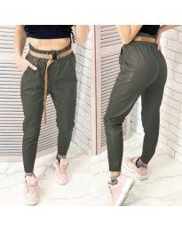 Дамски панталон еко кожа в масленозелено - код 6329
