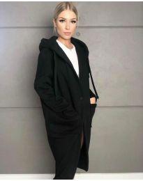 Стилно спортно-елегантно дамско палто с качулка в черно - код 0855