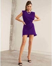 Свободна къса дамска рокля в лилаво - код 625