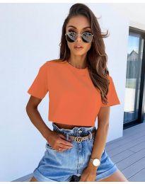 Къса тениска в цвят оранжево - код 608