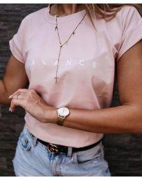Изчистена розова тениска с надпис - код 3618