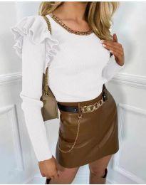 Атрактивна дамска блуза в  бяло - код 8865