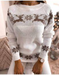 Дамски пуловер със зимен десен - код 1219 - 1