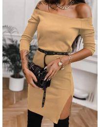 Дамска рокля в цвят капучино - код 4720