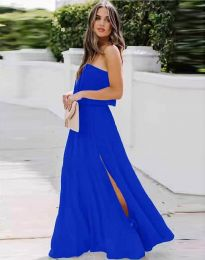 Дамска рокля в тъмносиньо с цепка - код 8871