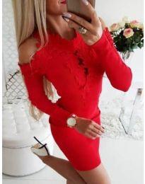 Елегантна рокля в червено с бродерии - код 568